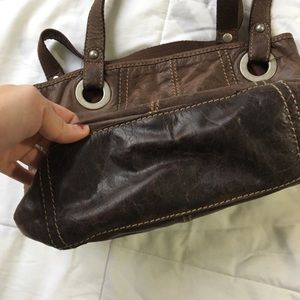Fossil Bags - Fossil Brown Genuine Leather Handbag Pockets